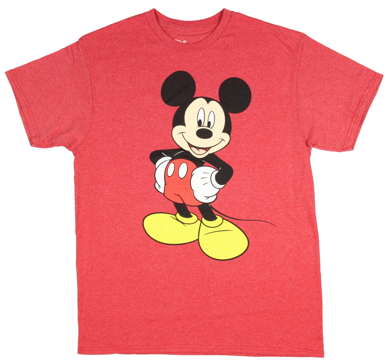 Men's Mickey Mouse Vintage Black And White Distressed Character T-Shirt - Red