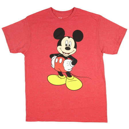 Men's Mickey Mouse Vintage Black And White Distressed Character T-Shirt - Red](Mickey Mouse Halloween Scrubs)