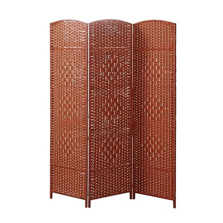 - DL furniture - Panel Screens Wood Bambu Room Divider - Classic Ancient Knots Design Pattern Office Partition Space Separator Office Home Decor | 3 Panels
