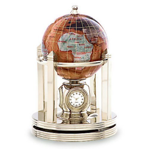 Kalifano Copper Amber 3-in. Gemstone Globe and Light Gold Galleon Rotating Base