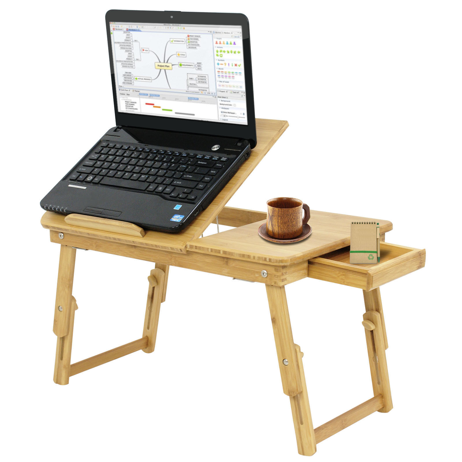 Zeny Portable Bamboo Laptop Desk Table Folding Breakfast Bed Serving Tray w/ Drawer