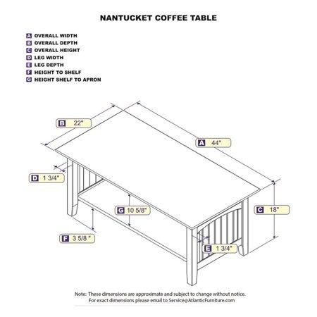 Nantucket Coffee Table.Atlantic Furniture Nantucket Coffee Table In White