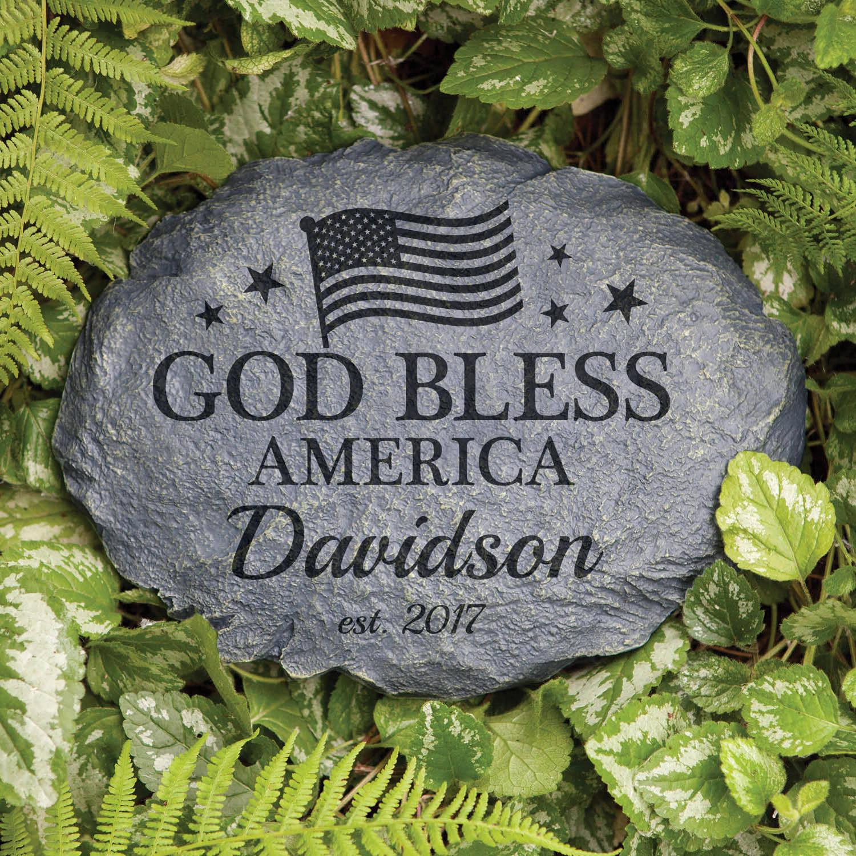 Personalized God Bless America Garden Stone