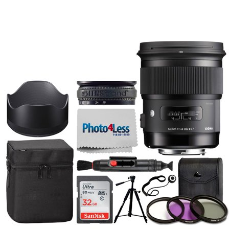 Sigma 50mm f/1.4 DG HSM Art Lens for Nikon F + 77mm 3-Piece Filter Kit UV, CP & FLD Filter + Lens Band, Stop Zoom Creep + 5 Piece Cleaning Kit + Cleaning Cloth & Pen + Lens Cap Holder – Accessory