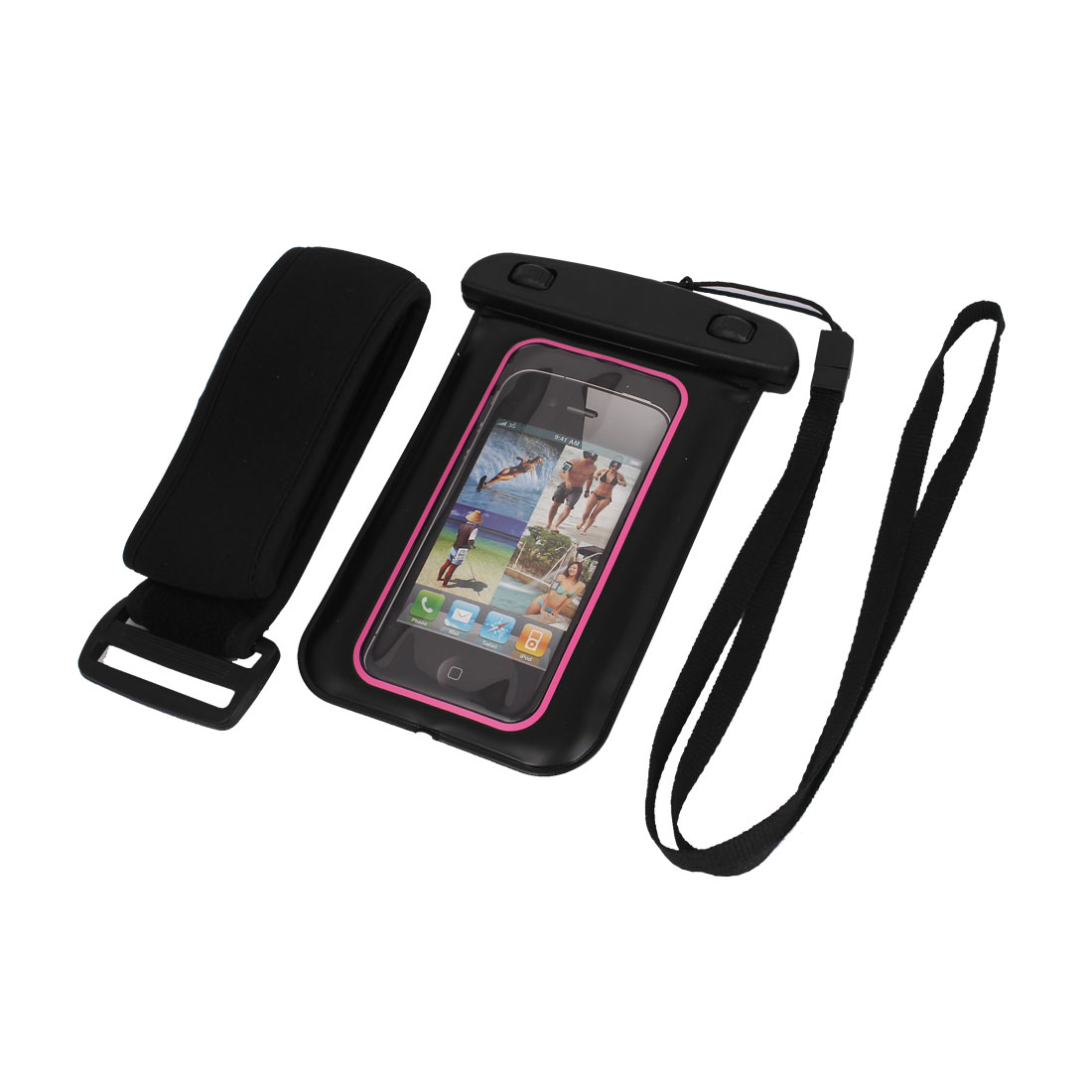sports shoes b35ba a15bb Unique Bargains Waterproof Case Dry Bag Skin Cover Pouch Sleeve Black Pink  for iPhone 5 5C 5S