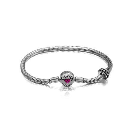Crystal Heart Stainless Steel Celebrate Life Starter Bracelet