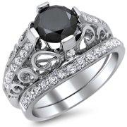 Noori Collection Noori 14k White Gold 2ct Certified Black Diamond Round-cut Engagement Ring Bridal Set (E-F, VS1-VS2)