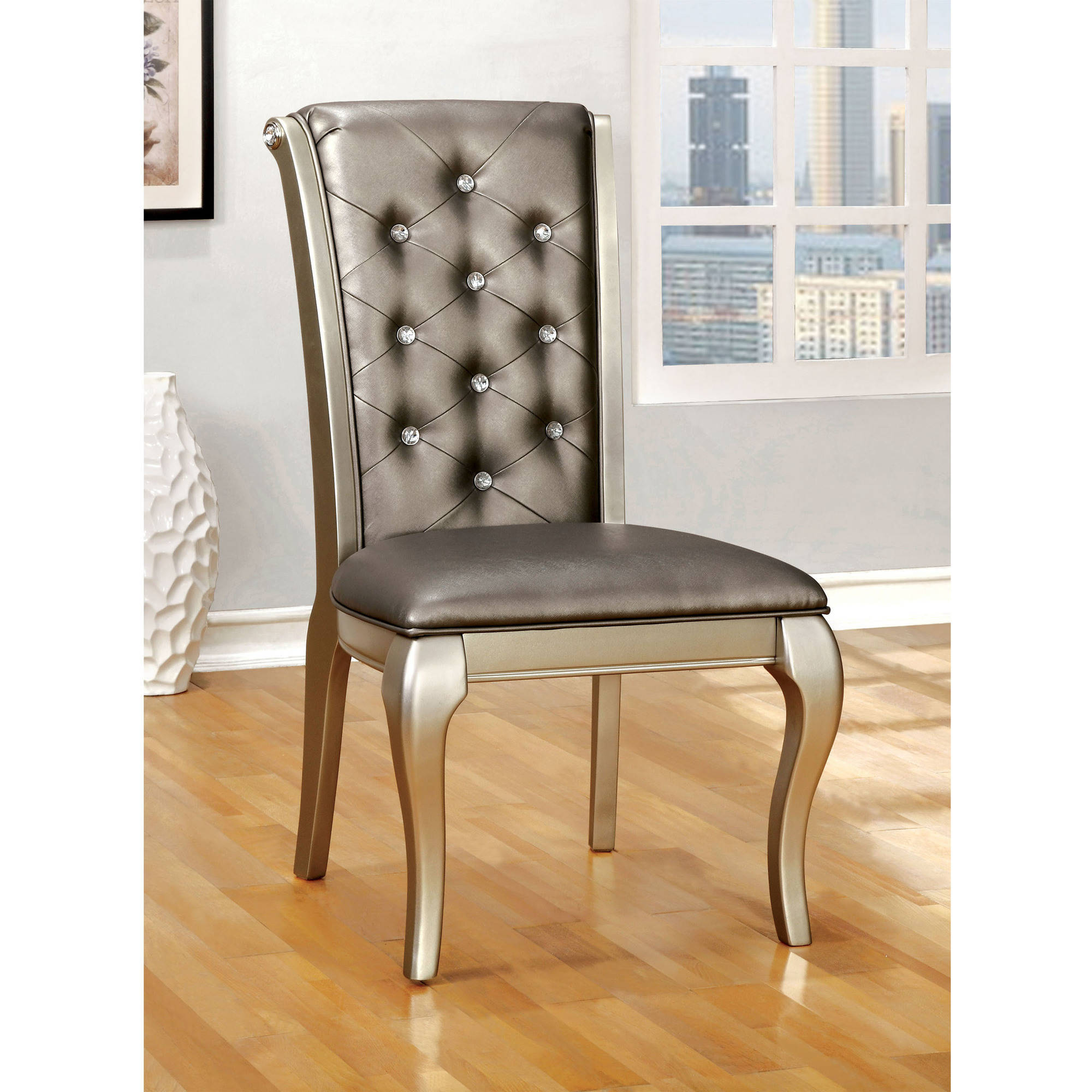 Furniture of America Selina Contemporary Scrolled-Back Dining Chair, Silver, 2pk