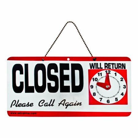 Advantus Open Closed Sign With Clock    Open Closed  Please Call Again  Will Return  Preprinted  Preprinted  Preprinted   11 50  Width6  Height Holding Size   Plastic   Red  White  Black  Avt83636