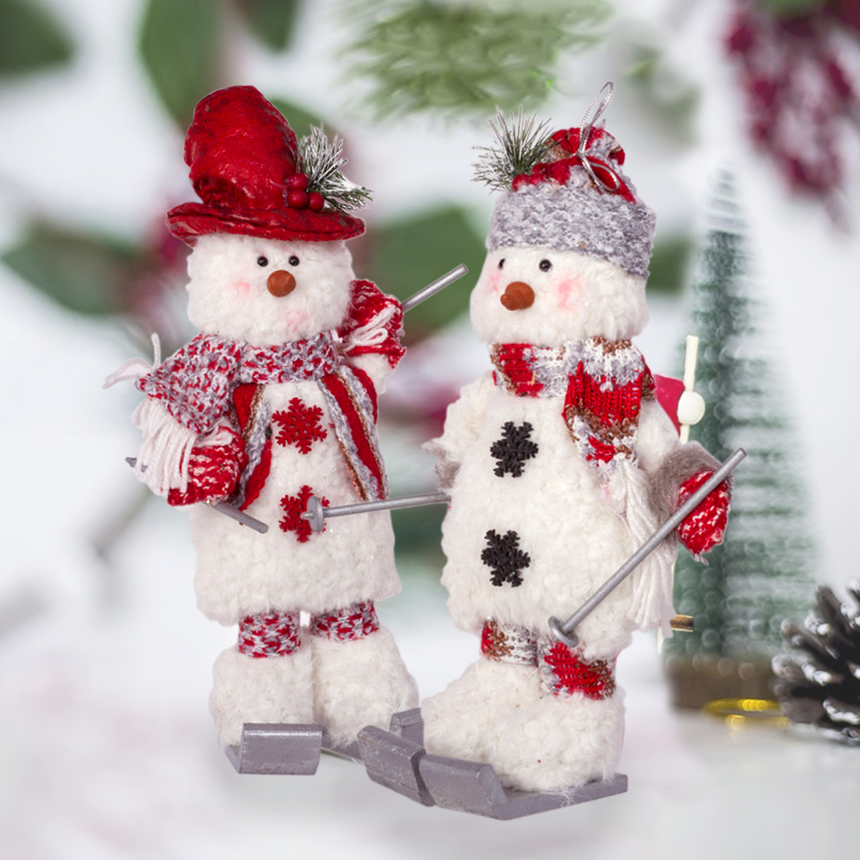 Set of 2 Snowman Holiday Figurines Christmas Home Decor