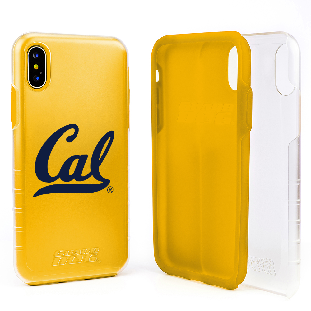 Cal Berkeley Golden Bears Clear Hybrid Case for iPhone X / Xs with Guard Glass Screen Protector - Clear with Yellow