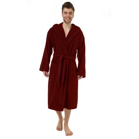 Heavy Burgundy Hooded Terry Cloth Bathrobe. XXL Full Length 100% Turkish Cotton