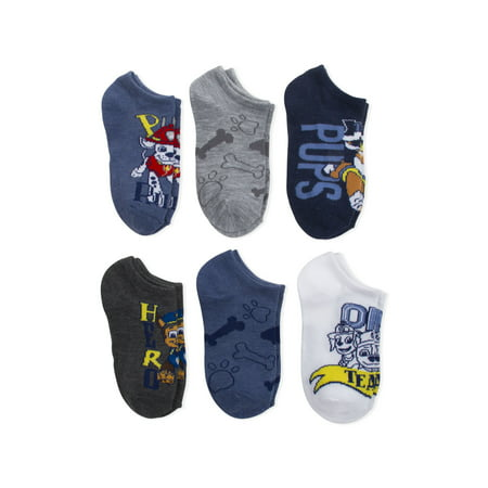 PAW Patrol, Boys Socks, 6 Pack No Show (Little Boys & Big Boys)