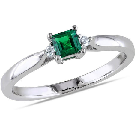 1/5 Carat T.G.W. Created Emerald and Diamond-Accent Sterling Silver Ring