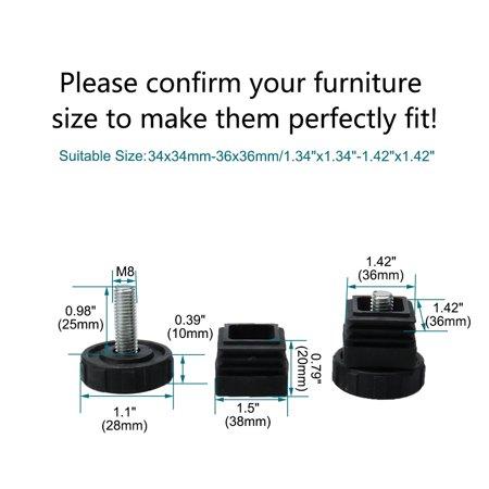 Leveling Feet 38 x 38mm Square Tube Insert Furniture Adjustable Leveler 8 Sets - image 7 de 8