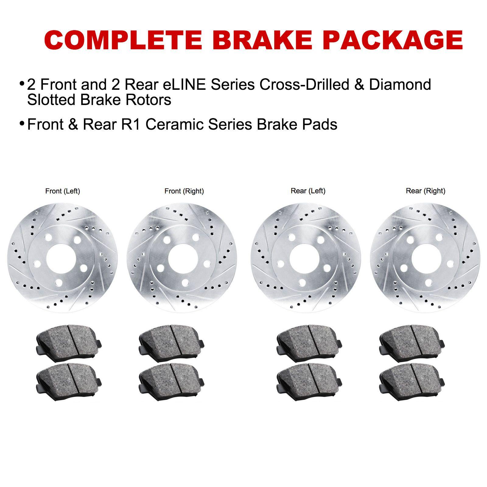 Fits 1999-2001 BMW 750iL Front Rear Black Drill Slot Brake Rotors+Ceramic Pads
