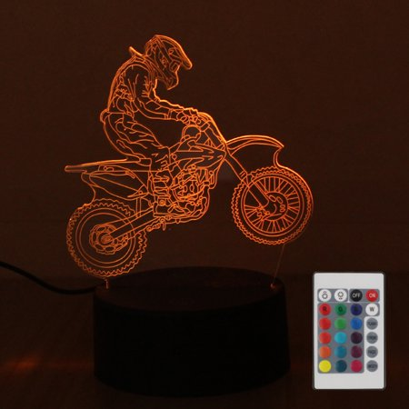 DC4.5V 5W 3 D Decorative Off-road Motorcycle Design 10 LED RGB Night Light with Remote Control Beside Lamp Desk Lighting Sensitive Tou- Sensor Supported Brightness Adjustable Dimmable/ 16 Colors Chang