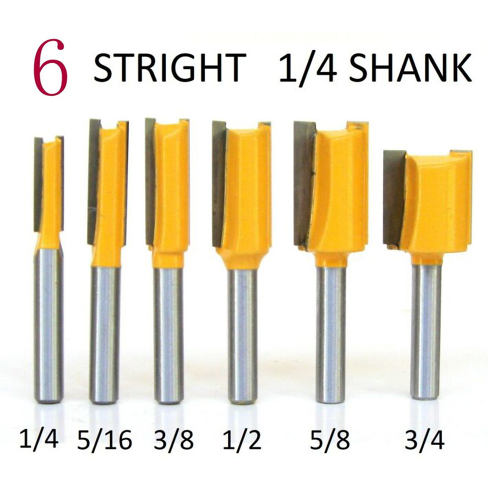 """1//2/"""" 3//4/"""" 5//16/"""" 5//8/"""" 6PCS 1//4/"""" Shank Carbide Tipped Router Bits 1//4/"""" 3//8/"""""""
