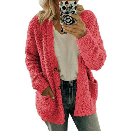 Plus Size Womens Fluffy Faux Fur Parka Jacket Coat Ladies Loose Button Pocket Teddy Bear Winter Warm Outwear Cardigan S-5XL Fur Coat Teddy Bears
