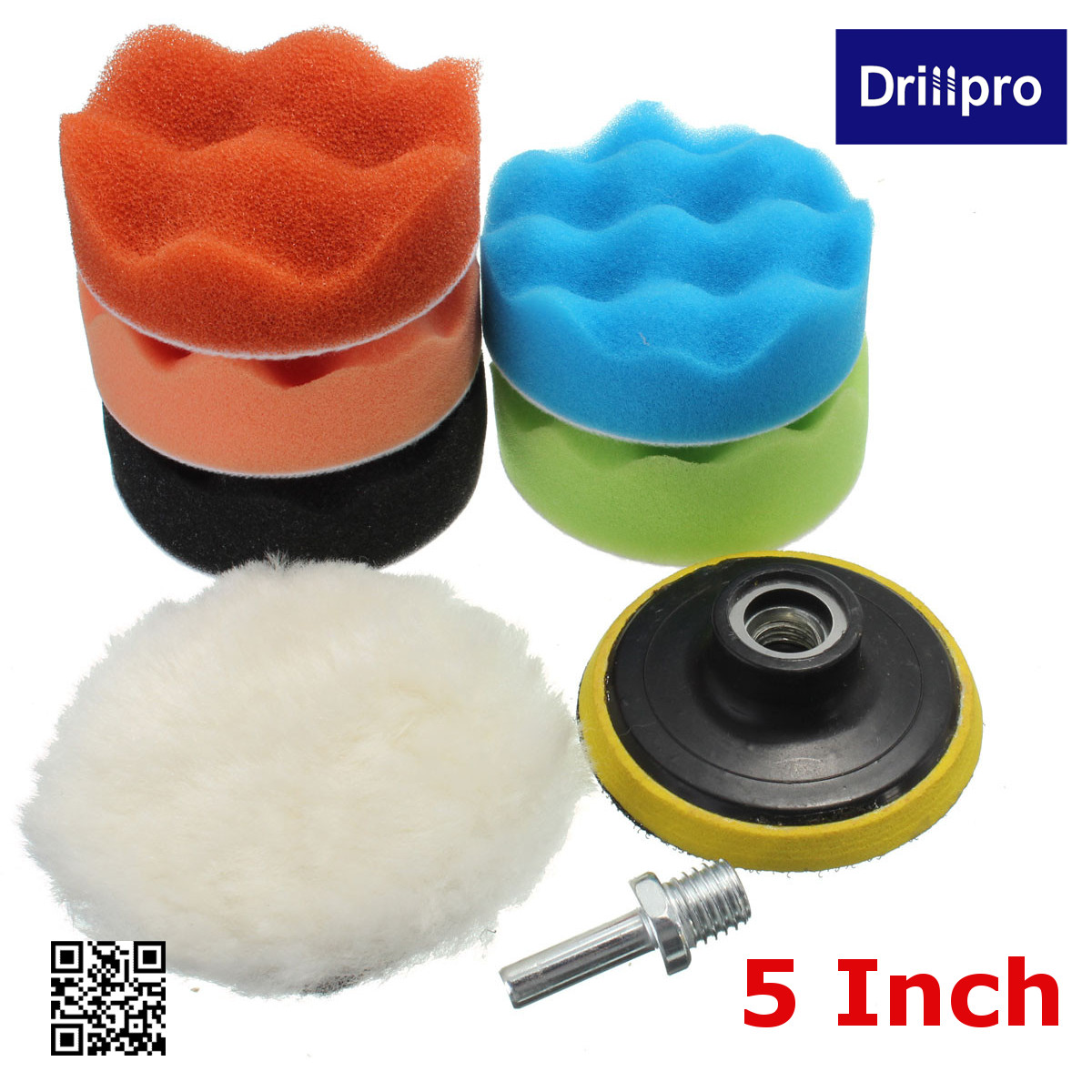 """7pcs 3""""/5""""/6""""/7"""" Sponge Polishing waxing Buffing Pads Kit Compound Polishing with 5/8'' Drill Adapter For Auto Car"""