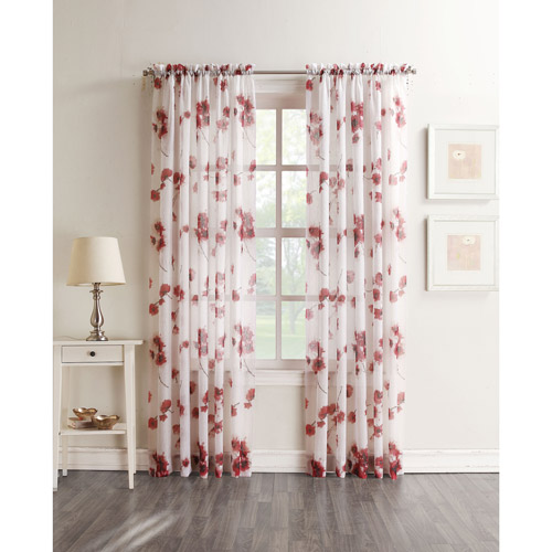 Better Homes and Gardens Kera Textured Floral Sheer Voile Curtain Panel