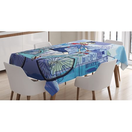 Paris Tablecloth, Young Woman With French Hat and Funny Cat on Bicycle in Paris Street Watercolor, Rectangular Table Cover for Dining Room Kitchen, 52 X 70 Inches, Multicolor, by Ambesonne