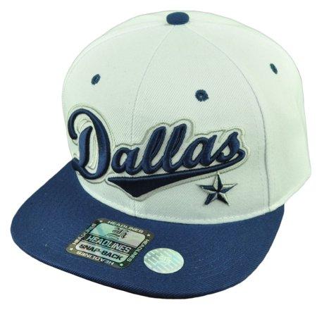 Dallas Texas City 3D Logo Snapback Flat Bill Brim Hat Cap White Blue Mens (Party City Dallas Texas)
