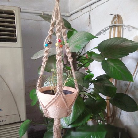 Diy Plant Hanger (3PCS Plant 3PCS Hanger Hemp Jute Rope Plant Macrame Hanger Pot Holder Hanging Basket With Bead 42.5)