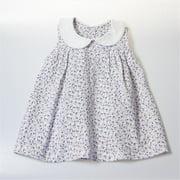 BGCDRESS1218 Peter Pan Collar Girl Dress - White With Flower Prints, 12 -18 Months