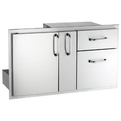 American Outdoor Grill Door with Double Drawers and Platter Storage by