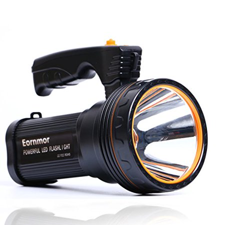 Eornmor Outdoor Handheld Portable Flashlight USB Rechargeable Super Bright LED spotlight Torch Searchlight Multi-function Long Shots Lamp, 9000ma 35W