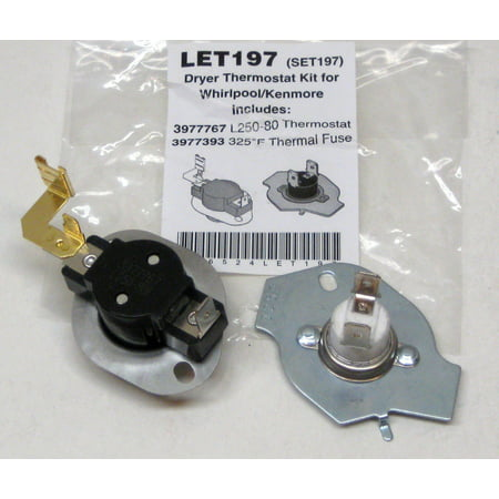 N197 Dryer Limit & Thermal Thermostat Kit for Whirlpool Kenmore W10900067 (Thermostat Kenmore)
