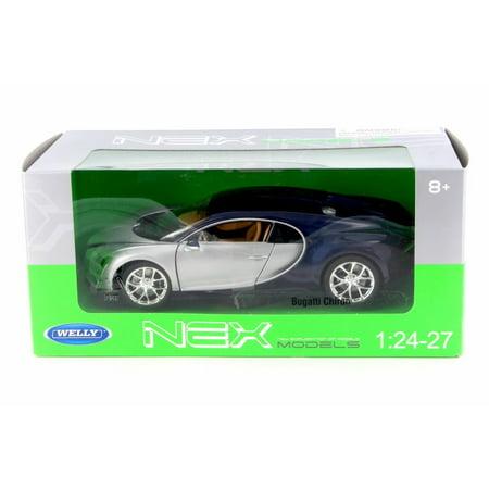 Bugatti Chiron   Silver W  Blue   Welly 24077W Sil   1 24 Scale Diecast Model Toy Car