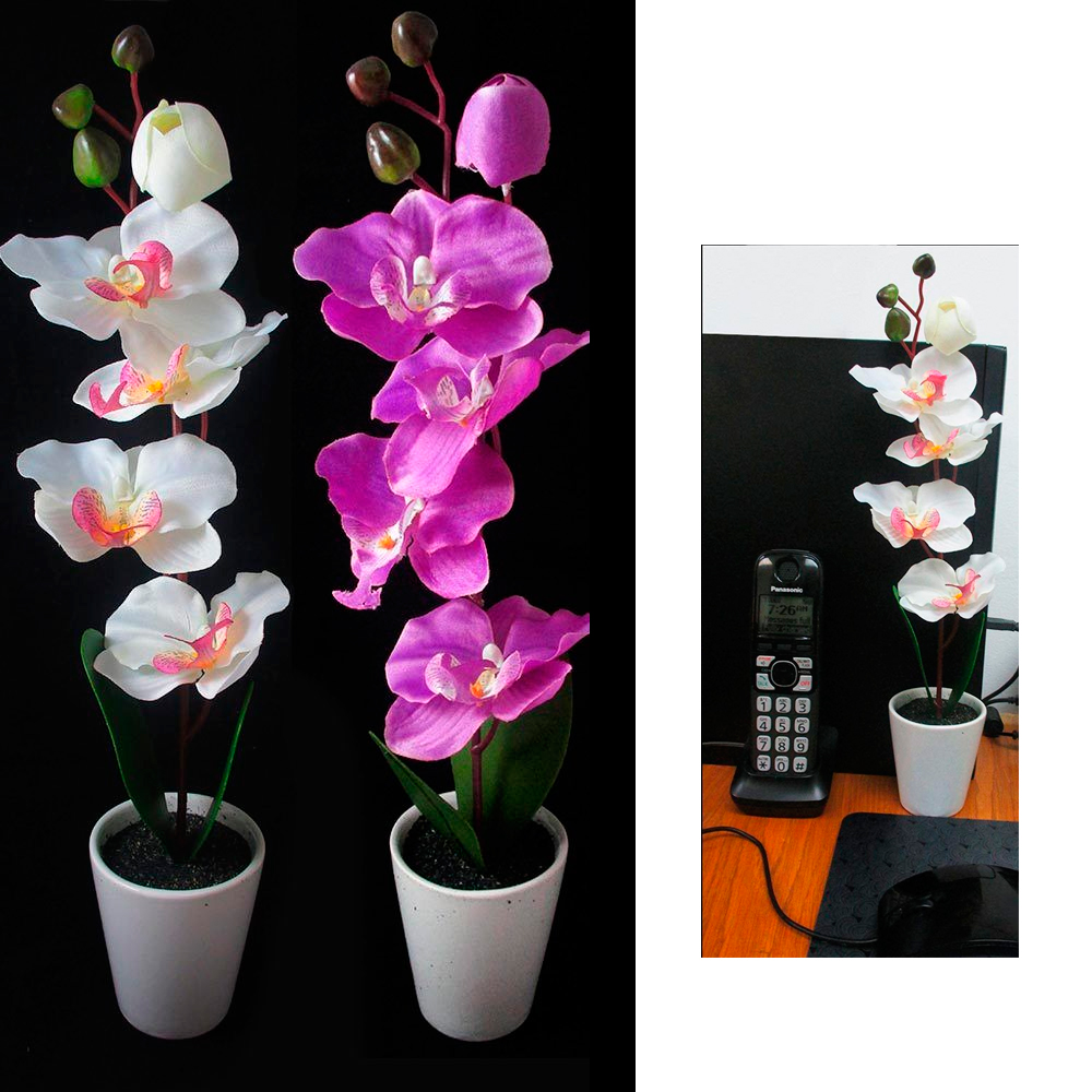 1pc Orchid Flower Artificial Decoration Potted Plant Home Office Decor Plastic !