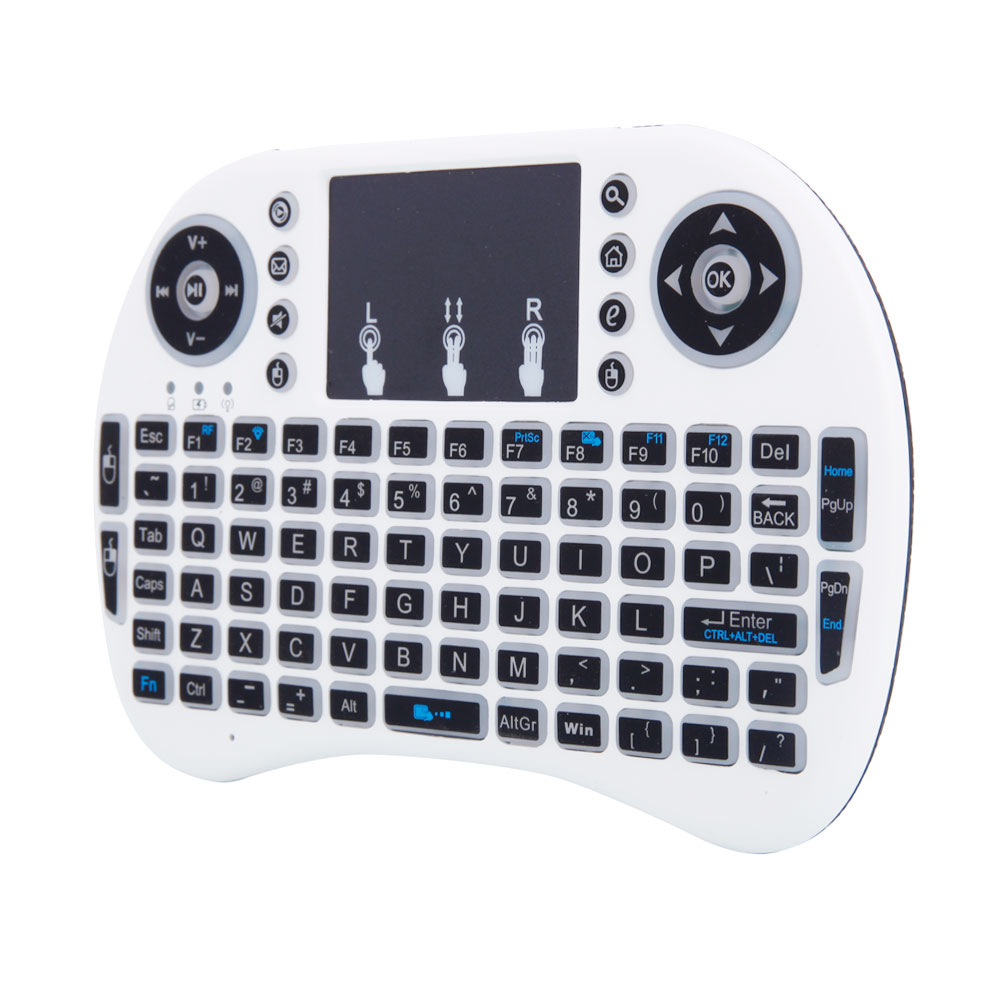 MINI i8 2.4GHz 3-color Backlight Wireless Keyboard with Touchpad White