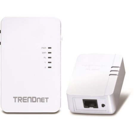 Trendnet Powerline 500 Wireless Kit   2 X Network  Rj 45    600 Mbps Powerline   5000 Sq  Ft  Area Coverage   984 25 Ft Distance Supported   Ieee 802 11N   Homeplug Av   Fast Ethernet  Tpl 410Apk