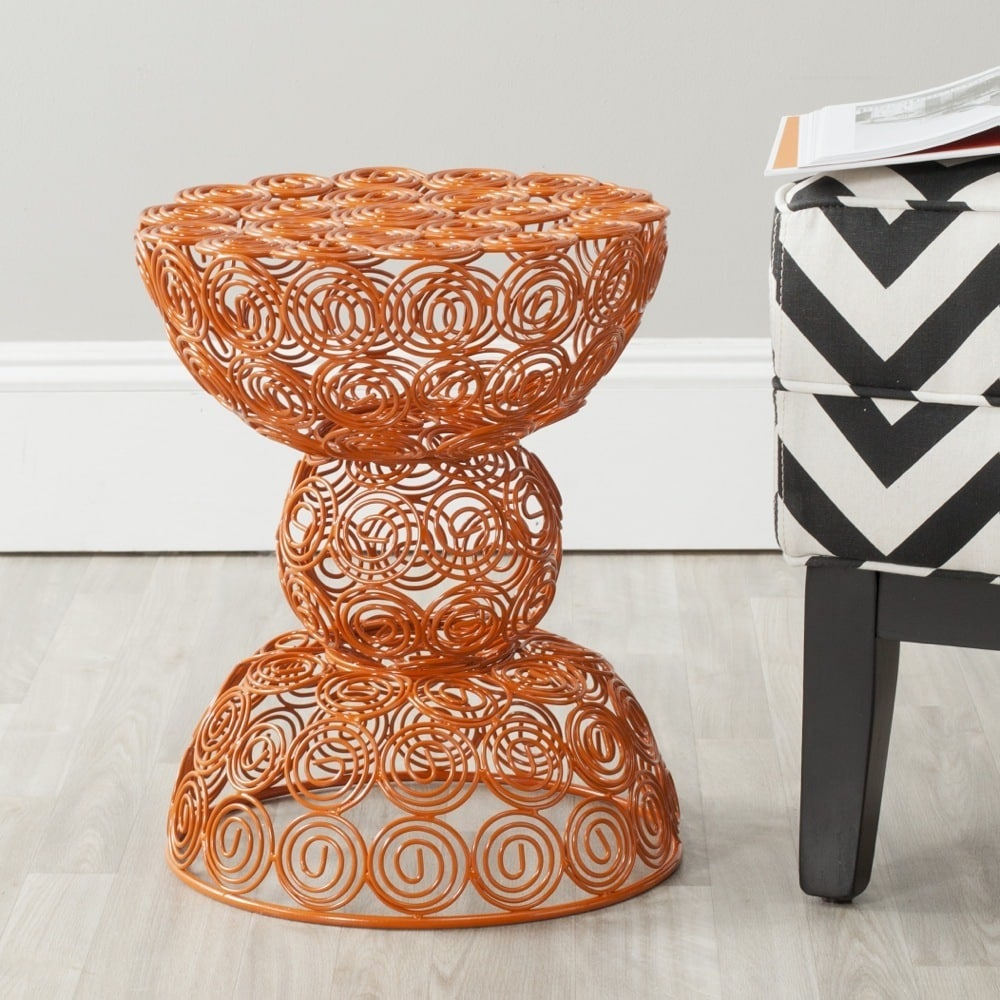 Safavieh  Leila Orange Iron Wire Stool