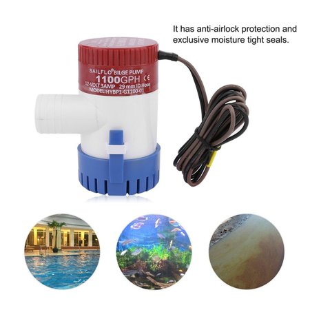 3 0A 1100 Gph 12V Submersible Boat Electric Bilge Pump 1 1 8  Outlet For Boat