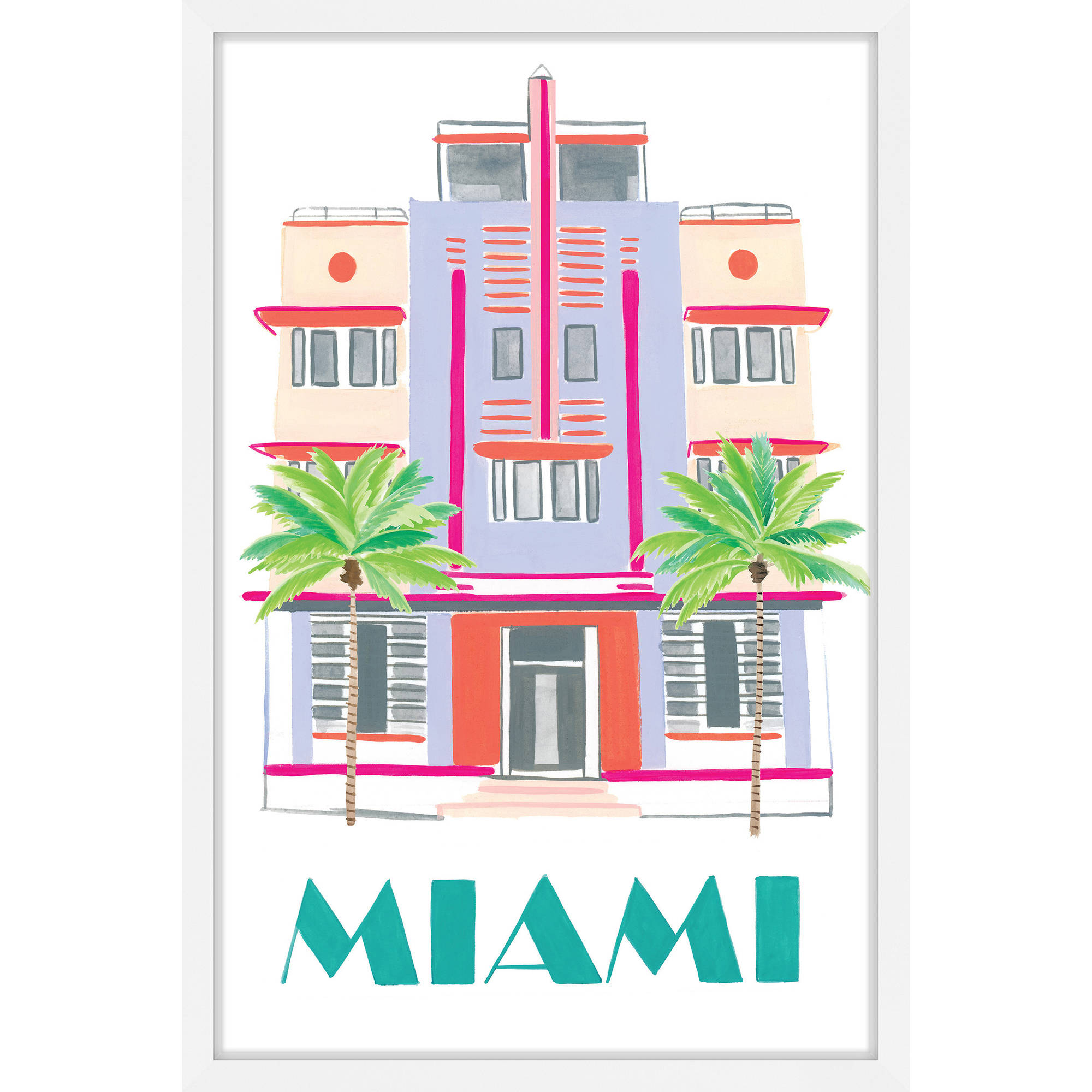 """Marmont Hill """"Miami Art Deco"""" by Molly Rosner Framed Painting Print"""