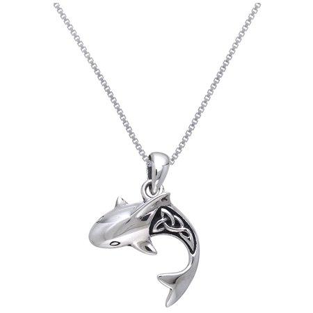 Sterling Silver Shark with Celtic Knotwork Pendant on 18 Inch Box Chain Necklace - Chain Link Shark Suit
