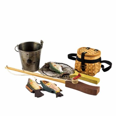 """Fishing Adventure Set (Fishing Pole, Net, Pail and 3 Fish) for 18"""" Doll Accessories"""