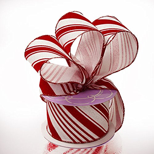 New Roll 2 In Red White Peppermint Candy Cane Christmas Wired Ribbon x 35 Ft