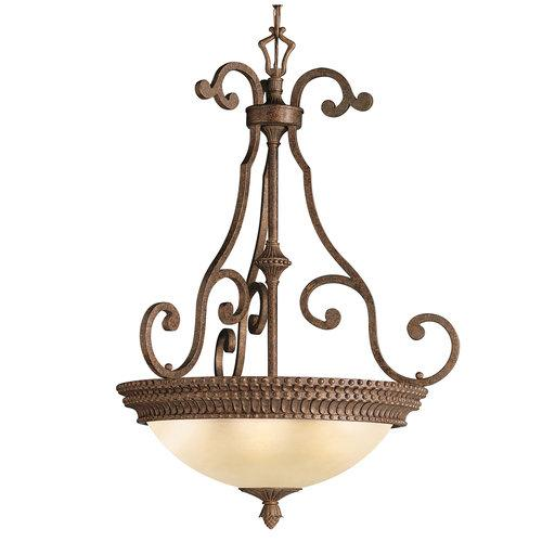 Kichler Lighting Larissa - Three Light Inverted Pendant, Tannery Bronze With Gold Accent Finish with Citrine Glass