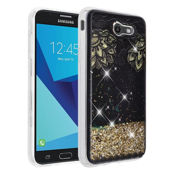 50effe5664 Samsung Galaxy J7 Prime / J7 V / J7 (2017) Case / J7 Perx Case / J7 Sky  Pro, Galaxy Halo, Case Luxury Bling Glitter Case, Liquid Sparkle Quicksand  ...