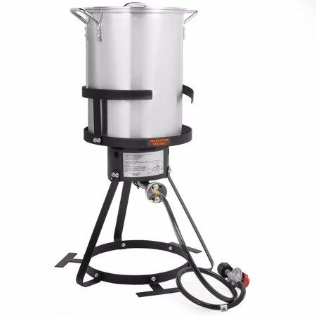 STKUSA 30 QT Turkey Aluminum Fryer Pot and Gas Stove Burner Stand, 6 Pc (Gas Turkey Fryer)