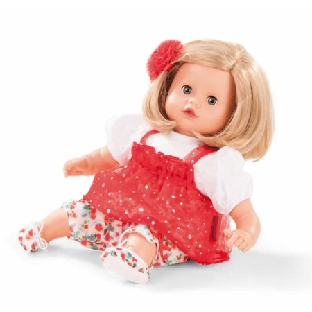 Gotz Muffin 13   Soft Baby Doll With Blonde Hair And Blue Sleeping Eyes In Red Dress