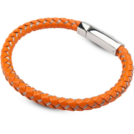 magnetic bracelet walmart steel s mix orange woven leather with steel 3276