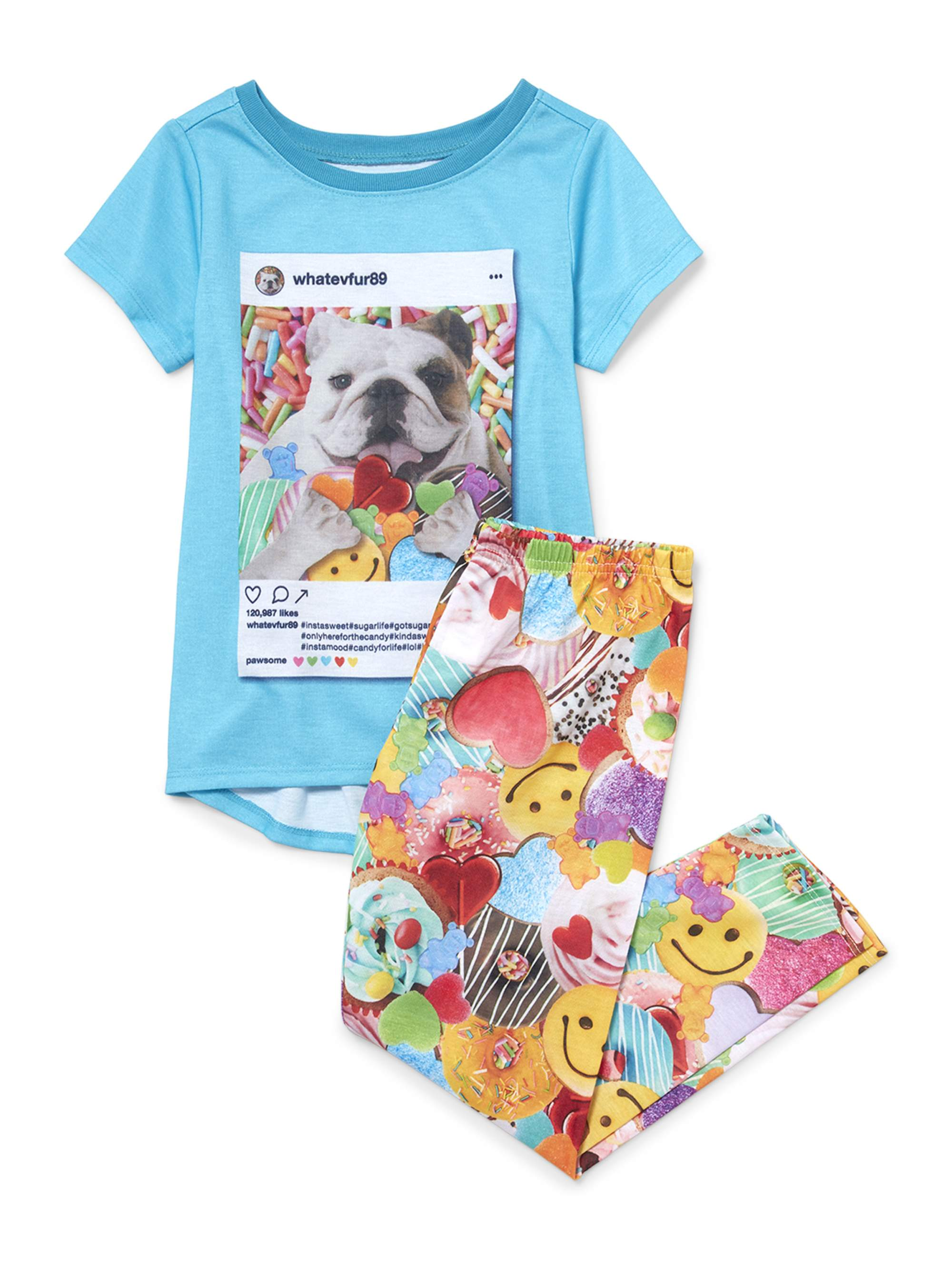 Girl's Dog Short Sleeve Pajama Set (Big Girl & Little Girl)