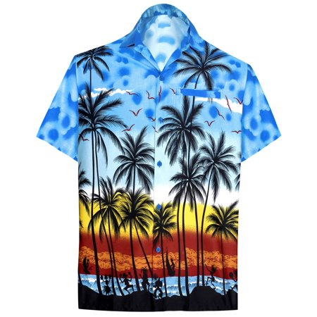Men's Beach button down Hawaiian Men's Front Pocket Aloha Hawaiian Tropical ShirtBlue_W132 2 Button T-shirt