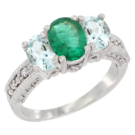 14K White Gold Diamond Natural HQ Emerald Ring Oval 3-stone with Aquamarine, sizes 5 - (Natural Aquamarine Emerald)